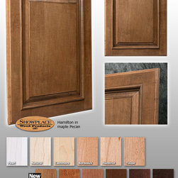 Hamilton Showplace Cabinets - This photo features Showplace's Hamilton door style in maple with a Pecan stain.