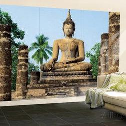 Sukhothai Wat Sra Si Temple Buddha Statue Huge Wall Mural Art Print Poster -