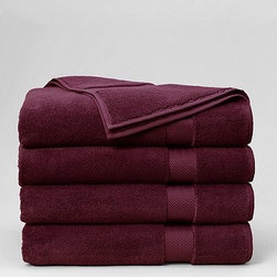 Terry Bath Sheet - Plush towels in a striking color against a white bathroom... need I say more? I love how this color can go masculine or feminine, depending on the bathroom accessories and hardware.