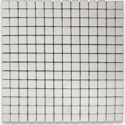 """Stone Center Corp - Thassos White Marble Square Mosaic Tile 3/4x3/4 Tumbled - Thassos white marble 3/4"""" x 3/4"""" square pieces mounted on 12"""" x 12"""" sturdy mesh tile sheet"""