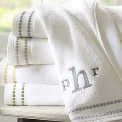 """Pearl Embroidered Hand Towel, Thyme Green - An embroidered string of pearls borrowed from our Pearl Embroidered Bedding punctuates our 700-gram cotton towels. Dotted with satin-stitched pearls. See available colors below. Machine wash. Oeko-Tex certified, the world's definitive certification for ecologically safe textiles. Catalog / Internet Only. Made in Portugal. Monogramming is available at an additional charge. Monogram is 3"""" and will be centered at one end of the bath and the hand towels."""