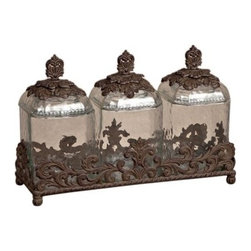 GG Collection - 19.5 in L Triple Glass Canisters - Canister Set of 3, Clear, Molded Glass w/Brown Metal Base, 19.5in x 6.5in x 13in H, Care: Glass is dishwasher safe, but recommend to hand wash glass with attached metal parts in mild soap and dry with a soft cloth