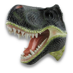 Zeckos - Life-like Wall Mounted Tyrannosaurus Rex Head Statue Trophy Head - You could hunt deer, moose, maybe even a bear, but when it comes to the ferociousness of a Tyrannosaurus Rex, can anything compare? If you could bag a T-Rex, it would only seem proper to proudly mount it on the wall. Impress your friends and visitors with tall-tales of bravery and prowess This fantastical T-Rex head has been realistically sculpted from poly-resin materials and expertly hand-painted in colors that accentuate all the life-like details from coal-black fearsome eyes to thick, green lizard-like skin. This 14 inch high (36 cm), 9 inch long (23 cm), 14 inch deep (36 cm) head easily hangs on the wall using a single nail or screw via the attached keyhole hanger on the back. Hanging this head on your wall among other trophies will most certainly turn some heads and begin some interesting conversations It would be a fun addition to an entertainment room, humorous in a guest bathroom or on the inside of a closet door, and any T-Rex fan would love this to hang on their wall, from the young to the young at heart, and this head will most certainly be a favorite decoration