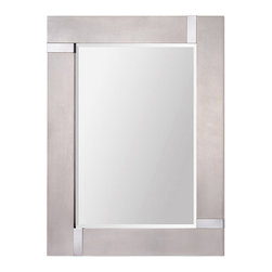 Ren-Wil - Ren-Wil MT1318 Capiz Mirror - This modern mirror features a silver leaf finish: highlighted with chrome corner accents. Mirror is beveled.