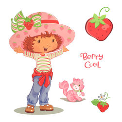 Berlin Wallpaper - Strawberry Shortcake Accent Berry Cool Self-Stick Decals - FEATURES: