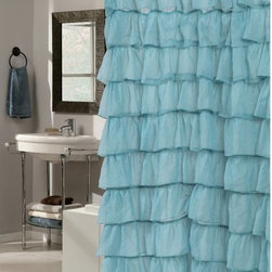 Other Brands - Carnation Home Fashions Carmen Ruffle Tier Fabric Shower Curtain - SCVOIL/CAR/01 - Shop for Shower Curtains from Hayneedle.com! Add a little va va voom to your bathroom with the Carnation Home Fashions Carmen Ruffle Tier Fabric Shower Curtain. This frilly and fun shower curtain features large ruffles of hand-sewn polyester fabric. It comes in your choice of vivid color and is even machine-washable for lasting beauty.About Carnation Home FashionsYour home your style Carnation Home Fashions believes in this motto. That s why this home fashions company offers a wide range of on-trend and classic products designed for style and convenience. Perfect for matching today s busy lifestyles their bath products meet your needs in style. Carnation Home Fashions is based in Newburgh New York.