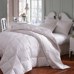 Downright - Astra Innofil Comforter - Features: -Material: 100% Cotton, plain weave.-233 thread count.-Premium synthetic comforter.-Made with a hypoallergenic synthetic fiber.-Look and feel of a real down comforter.-Fluffs and feels like down.-White silk piping.-Double stitching.-Sewn-thru box construction.-Color: White.-Collection: Astra Innofil.-Distressed: No.-Country of Manufacture: United States.Dimensions: -68'' - 94'' W x 86'' - 108'' D, 1.81 lbs - 3.13 lbs.