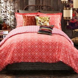 Tracy Porter - Tracy Porter Poetic Wanderlust Rose Boheme Michaila Duvet Cover - The Michaila duvet cover features a fresh combination of bright red and pink colors. This bedding boasts a densely patterned face that matches rich color with exquisite texture, and reverses to a playful Navajo stripe print.