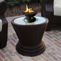 California Outdoor Concepts Sculptured Bistro Table with Capri Firebowl - Add sophisticated style to your outdoor space with the California Outdoor Concepts Sculptured Bistro Table with Capri Firebowl. This table features big style in a compact design. The glass pit sits atop smooth granite with a range of colors available for the glass and granite. The fire bowl also comes in black or brown with the option of a square shape or round shape. The options are practically limitless with this great table. The black sculpted resin base is neutral but has a unique shape that gives a classic feel to this modern piece of outdoor furniture. The bistro table is portable and easy to use. The smaller scale allows you to use this table anywhere without losing a lot of space. About California Outdoor ConceptsCalifornia Outdoor Concepts builds their fire pits and accessories exactly where it would seem - in the sunny climate of idyllic California. By living the lifestyle they sell this small company is able to develop some of the most sophisticated beautiful and practical designs for outdoor socializing. There are no assembly lines at the COC production facility - each piece is handmade and checked for perfection. When you're ready to heat things up in your backyard trust in the true California way.