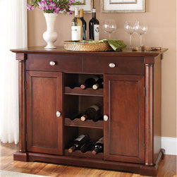 Better Homes and Gardens Ashwood Road Kitchen Sideboard Buffet, Cherry - I love the combination of cabinet storage, a wine rack and space for decoration on top.