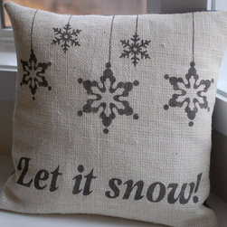 Burlap Christmas/Winter Pillow Cover by LaRae Boutique - I'm seeing burlap everywhere these days. I love the painted details on this pillow cover too.
