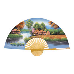 "Oriental Furniture - Paradise Fan - 60"" - This striking, handcrafted wall fan is built from split bamboo and sateen fabric with authentic, hand-painted Thai art. The Paradise fan features a serene riverside village in pale blue, green, and gold, with sand colored thatched huts. This distinctive Oriental art makes a striking home accent as well as a unique housewarming or holiday gift idea."