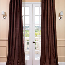 EFF - Signature Chocolate Textured Silk 108-inch Curtain Panel - Bring the warmth of chocolate into your home with these silk curtain panels. These 108-inch textured silk curtain panels with cotton lining and warm flannel interlining are the epitome of luxury and will instantly take any room from drab to fab.