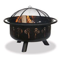 """Uniflame 32"""" Bronze Fire Bowl with Palm Tree Design - Create an inviting outdoor area for your beach loving friends and family with the Uniflame 32"""" Bronze Fire Bowl with Palm Tree Design.- Mantels Direct"""