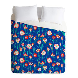 DENY Designs - Rachelle Roberts Garden Flower Duvet Cover - Turn your basic, boring down comforter into the super stylish focal point of your bedroom. Our Luxe Duvet is made from a heavy-weight luxurious woven polyester with a 50% cotton/50% polyester cream bottom. It also includes a hidden zipper with interior corner ties to secure your comforter. It's comfy, fade-resistant, and custom printed for each and every customer.