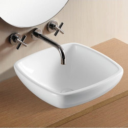 Caracalla - Square White Ceramic Vessel Bathroom Sink - Contemporary style, square white ceramic vessel bathroom Sink with no hole. Stylish above counter washbasin comes without overflow. Made in Italy by Caracalla. Made out of white ceramic. Contemporary design. Without overflow. Standard drain size of 1.25 inches.