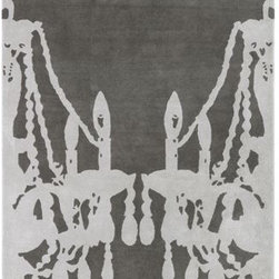 """chandelier rug - go for baroque. Opulent overscaled accent illuminates modern in reverse abstract print. Plush handtufted wool in tonal fog/graphite steps palatial. Learn about the designer, Bret Grafton on our blog.- Designed by Bret Grafton- 100% handtufted wool- 100% cotton backing- Professional cleaning recommended- Rug saver pad recommended- Made in India- See dimensions belowHow will it look in your room? 12""""x12"""" rug samples are available in stores for a fee refundable upon return of the sample."""
