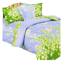 Blancho Bedding - Blancho Bedding - [Dandelion Dream] 100% Cotton 4PC Sheet Set (King Size) - Three-piece set for Twin size (consisting of a pillowcase, a fitted sheet and a flat sheet)
