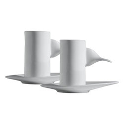 """Alessi - IL Caff� Alessi Hazel Mocha Cups with Saucers by William Alsop and Federico Graz - Set includes: -2 Mocha Coffee Cups. -2 Saucers for Mocha Cup. -2 Mocha Coffee Spoons. Features: -Il Cafe Alessi by William Alsop and Federico Grazzinii collection. -Cup is cylindrical in shape and remarkably slender. -Handle is made by twisting a flat plate joined vertically to the cup through 90�. -Extends horizontally out to meet the fingers. -Ovoid shape of the saucer traces a sort of raised prow that gives a visual orientation. -Base of the cup is hollow and conceals a small glass for cream, a shot of liqueur or spirits to add to the coffee. -Cup and the saucer are made of bone china, a porcelain praised for its brilliance and transparency. -Volume 1.5 oz.. -Overall dimensions: 3.25"""" H x 1.75"""" D."""