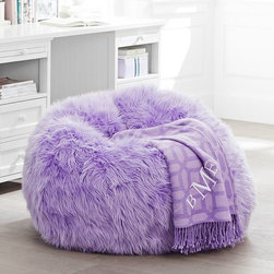Lilac Fur-Rific Beanbag - Purple is the color of the year, so throw in this lilac beanbag chair. Just think of it as a fun place to lounge around with friends, eat popcorn and gossip.