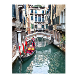 Sadkowski Photography Collection - Artwork - Attendere: Venezia The Venice Collection - Depicts a gondolier working on and waiting for his next passengers.  Vibrant color printed to order on archival enhanced matte or premium luster paper with archival ink. Image measures 24 x 30 including 2 inch border all around. . Signed by artist. Shipped in protective tube. Shipping included. From the Exclusive Sadkowski Photography Collection where every image looks like a painting.