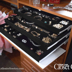 Saint Louis Closet Co. - Three-Tier Jewelry System with varying black velvet inserts.  www.stlouisclosetco.com