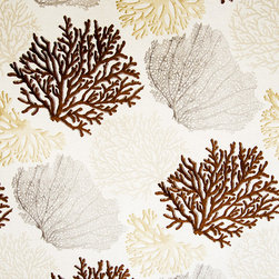 Coral fabric brown ocean - A coral fabric with brown, beige, and grey coral trees. An interesting ocean coral fabric for those who want a neutral ocean pattern.