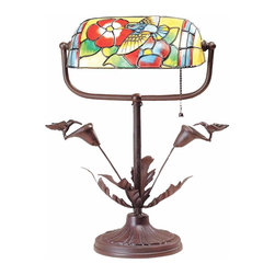The Renovators Supply - Table Lamps Antique Brass Tiffany Style Lamp 9 3/4 H x 7 1/4 W | 67013 - Table Lamps: Our Hummingbird Buzz Table Lamp in antique finish is constructed of solid brass and artfully renders a garden theme. Measures 9 3/4 inches high x 7 1/4 inches wide.