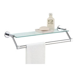 Organize It All - Organize It All 16916W-1 Glass Shelf with Chrome Towel Bar Multicolor - 16916W-1 - Shop for Towel Bars Hooks and Rings from Hayneedle.com! With the Organize It All 16916W-1 Glass Shelf with Chrome Towel Bar you will free up much-needed floor space in your bathroom. It showcases a glistening tempered glass shelf that stores various toiletries. It also has metal towel bar in a chrome finish for holding towels.About Organize It All With masterful designs using top-quality materials Organize It All is dedicated to providing convenient and stylish storage solutions for every room in your home believing that a well-organized environment is more enjoyable.