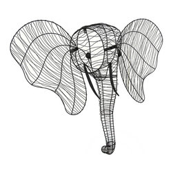 Zeckos - Elephant Head Wall Hanging Metal Wire Wall Sculpture - This unique hand-crafted elephant head statue is hand-sculpted using black satin finish metal wire, and is great for the wall in your entryway, man cave or mounted on your trophy wall This substantially sized 33 inch high, 34 inch long, 11 inch wide (84 X 86 X 28 cm) elephant head would look great strung with lights, or wrap it in greenery or flowers and hang it near your garden entry for a truly unique display, and it easily mounts using the attached keyhole hanger This wire elephant head sculpture is great as a gift any animal or art lover is sure to enjoy NOTE: For shipping purposes, the ears are not attached, and easily secure using the included hardware.
