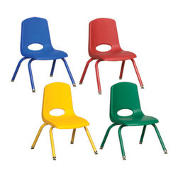 Ecr4kids - Ecr4Kids Preschool Stack Chairs, Matching Legs, Assorted Set of 6 - Innovative school stack chair features a molded seat with vented back, reinforced ribbing in back and under seat for strength, steel powder coated legs with steel lower back support. No penetration of screws through the seat surface. Composite ball glides for durability and protection on hard floors and carpet.