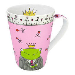 Konitz - Prince of My Heart Mugs, Set of 4 - The pink Prince of My Heart mug features a whimsical hand-drawn design. The frog prince, surrounded by hearts and flowers, wears a suit and crown. Lip illustrations on the handle and a crown on the interior of the mug.
