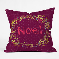DENY Designs - DENY Designs Rachael Taylor Noel Wreath Purple Throw Pillow - Wanna transform a serious room into a fun, inviting space? Looking to complete a room full of solids with a unique print? Need to add a pop of color to your dull, lackluster space? Accomplish all of the above with one simple, yet powerful home accessory we like to call the DENY Throw Pillow! Available in four sizes, our throw pillow is made from a medium weight woven polyester with a hidden zipper and removable bun insert.