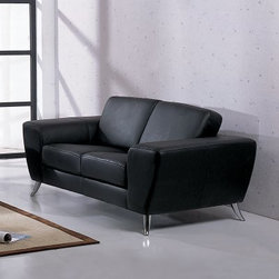 Julie Leather Loveseat - Black - Artful and luxurious, the Julie Leather Loveseat - Black sacrifices nothing when it comes to your comfort. This modern loveseat is scaled for any size room. It features supple, top-grain black leather and flared, polished metal legs that add a mid-century modern touch. A kiln-dried, solid wood frame, interwoven web base, and sinuous spring suspension play a supporting role. Polyurethane foam cushions bring comfort home. About Beverly Hills Furniture, Inc.Beverly Hills Furniture, Inc. is a modern furniture company headquartered in New Jersey. They are a premier purveyor of contemporary furniture with a passion for the very finest designs and quality. Beverly Hills Furniture specializes in providing quality home furnishings, cases, and accessories.