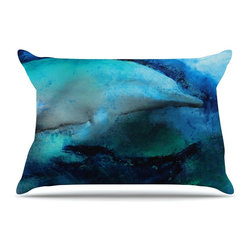 "Kess InHouse - Josh Serafin ""Dolphin"" Blue Teal Pillow Case, Standard (30"" x 20"") - This pillowcase, is just as bunny soft as the Kess InHouse duvet. It's made of microfiber velvety fleece. This machine washable fleece pillow case is the perfect accent to any duvet. Be your Bed's Curator."