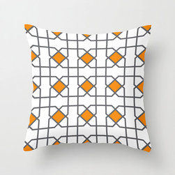 Modern Lattice Pillow Cover in Orange - This contemporary design weaves pops of complementary color onto a simple modern lattice for an eye-catching effect that doesn't overwhelm. We think you'll find it equally at home in your bedroom or on the couch.