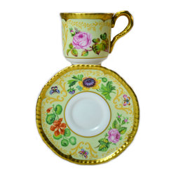 Lavish Shoestring - Consigned Gilded Espresso Cup and Saucer by Royal Worcester, Vintage English - This is a vintage one-of-a-kind item.