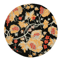 Safavieh - Country & Floral Blossom Round 6' Round Black - Multi Color Area Rug - The Blossom area rug Collection offers an affordable assortment of Country & Floral stylings. Blossom features a blend of natural Black - Multi Color color. Hand Hooked of Wool the Blossom Collection is an intriguing compliment to any decor.