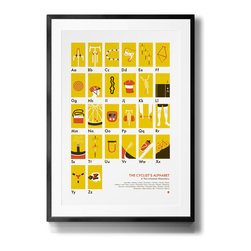 My Outdoor Alphabet - The Cyclist's Alphabet Screen Printed Poster - From aero bars to Team Zed, the Cyclist's Alphabet is now available for your office or nursery or apartment walls. Two-wheeled enthusiasts from everywhere can appreciate both the technology and history behind our favorite mode of transportation with unique illustrations of all 26 letters.