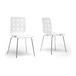 "Baxton Studio - Baxton Studio Celeste White Modern Dining Chair (Set of 2) - Clean, simple, minimalism evokes peace of mind. Our Celeste Contemporary Dining Chair features a white plywood seat with circular cut-out backrest sitting atop a chrome-plated steel frame. Black plastic non-marking feet help in the prevention of scratches on sensitive flooring. The Chinese-made Celeste Modern Dining Chair is not stackable, and requires assembly. To clean, wipe with a dry cloth. Also offered is the Celeste Chair with a birch seat (sold separately).Dimensions:19.5""W x18.5""D x 33.25""H  ,seat'sions: 16""W x 15""D x 18.25""H"