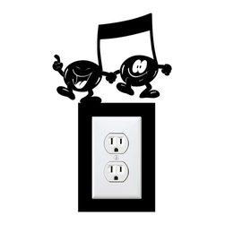 StickONmania - Outlet Musical Notes Sticker - A cool sticker for your wall outlet. Decorate your home with original vinyl decals made to order in our shop located in the USA. We only use the best equipment and materials to guarantee the everlasting quality of each vinyl sticker. Our original wall art design stickers are easy to apply on most flat surfaces, including slightly textured walls, windows, mirrors, or any smooth surface. Some wall decals may come in multiple pieces due to the size of the design, different sizes of most of our vinyl stickers are available, please message us for a quote. Interior wall decor stickers come with a MATTE finish that is easier to remove from painted surfaces but Exterior stickers for cars,  bathrooms and refrigerators come with a stickier GLOSSY finish that can also be used for exterior purposes. We DO NOT recommend using glossy finish stickers on walls. All of our Vinyl wall decals are removable but not re-positionable, simply peel and stick, no glue or chemicals needed. Our decals always come with instructions and if you order from Houzz we will always add a small thank you gift.