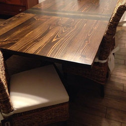 "7ft Trestle Dining Table - 7ft long by 45"" wide trestle table in Dark Walnut and Midnight stain with center board."