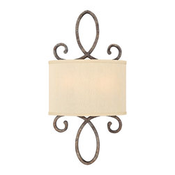 Frederick Ramond - Fredrick Ramond Monterey 2-Light Sconce - This flowing traditional European design features graceful scrolls in a Brushed Merlot finish. Golden silk fabric shades complement this over-scaled yet delicate collection.