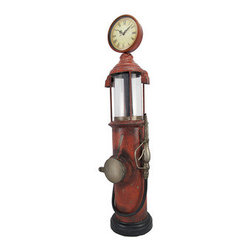 Retro 1920`s Antique Gas Pump Table/Floor Clock 30 In. - This floor clock is fashioned after an antique 1920`s gas pump and adds a nostalgic accent to your home, office, restaurant, or bar. Made of metal, it measures 30 inches tall, 7 inches wide, 7 inches deep. The clock measures 5 inches in diameter and features black Roman numerals and decorative hands to mark the time. It features quartz movement and runs on 1 AA battery (not included). This clock is a wonderful addition to your existing decor, and is sure to start a conversation.