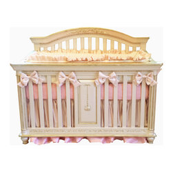 Parisian Collection CRIB - cambas +co.  exclusive parisian crib is the most luxurious crib available for the nursery. This crib is handmade in the US and finished in a pearlescent finish which gives it a smooth glowing finish then dusted in 24 kt. gold to accent all the beautiful carving details.