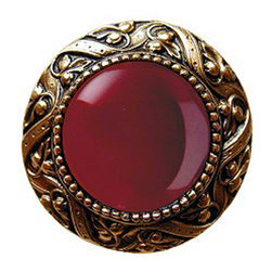 "Notting Hill - Notting Hill Victorian Jewel/Red Carnelian Knob - 24K Gold Plate - Notting Hill Decorative Hardware creates distinctive, high-end decorative cabinet hardware. Our cabinet knobs and handles are hand-cast of solid fine pewter and bronze with a variety of finishes. Notting Hill's decorative kitchen hardware features classic designs with exceptional detail and craftsmanship. Our collections offer decorative knobs, pulls, bin pulls, hinge plates, cabinet backplates, and appliance pulls. Dimensions: 1-5/16"" diameter"
