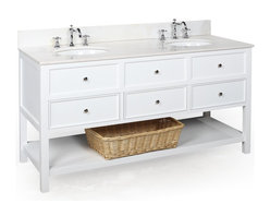 Kitchen Bath Collection - New Yorker 60-in Double Sink Bath Vanity (White/White) - This bathroom vanity set by Kitchen Bath Collection includes a white cabinet with soft close drawers, white marble countertop, double undermount ceramic sinks, pop-up drains, and P-traps. Order now and we will include the pictured three-hole faucets and a matching backsplash as a free gift! All vanities come fully assembled by the manufacturer, with countertop & sink pre-installed.