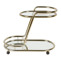 Pre-owned Vintage 1970s Brass Bar Cart - This fabulous brass bar cart on wheels is from the 1970s. In the style of Milo Baughman, it features has glass shelves on two levels with spaces for bottles at the bottom. It is in very good vintage condition.
