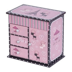 "Emmaline Parisian Poodle Musical Ballerina Jewelry Box - 8W x 7.75H in. - For the pint-sized jewelry maven in your life, this Mele & Co. Emmaline Parisian Poodle Girls Musical Ballerina Jewelry Box has a place for her many treasures. Wrapped in a paper overlay of Parisian poodles and polka dots, this box has two open sections on top, three open drawers on the left, and a mirrored necklace carousel with door on the right. The lift lid has an interior mirror and a brunette ballerina dances to ""Frère Jacques."" Hand-lined in pink flocked fabric, her favorite jewels will stay safe and sound until she is ready to wear them once again. The decorative silver tone drawer pulls finish off this chic jewelry tower.About MeleEmidio Mele, an Italian immigrant to the United States, came to New York City in 1896 and learned to make jewelry boxes as an apprentice before founding Mele Manufacturing in 1912. He began by designing and building elegant displays for jewelry store windows. His jewelry box-making business grew throughout the 1900s, responding to demands for boxes to hold Purple Hearts during WWII and developing as a popular household name for quality jewelry boxes. Today Mele Jewelry Box is known as the Mele Companies, which encompass various divisions under the Mele name. Now based in Utica, N.Y., Mele still upholds the family atmosphere on which it was founded and remains America's foremost name in jewelry cases."