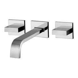 WS Bath Collections - Level Wall Mounted Bathroom Faucet - Level by WS Bath Collections, Wall-Mounted Installation Three Hole Concealed Wall Basin Mixer Available in Polished Chrome and Mat Chrome, Made in Italy